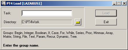 Programming taskbook after correct typing of a group name an overview of the chosen task group is displayed at the bottom of the window when all tasks of group are available a maxwellsz